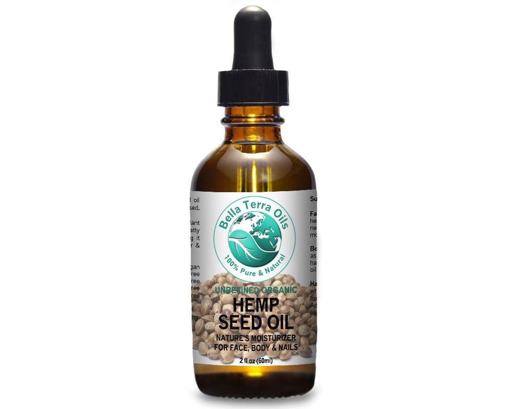 Hemp Seed Oil 60 ml 100% Pure Cold-pressed Unrefined Organic - Bella Terra Oils