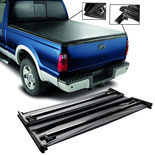 CCIYU Soft Roll Up Tonneau Cover Four-Fold Exterior Accessories for 2007-2016 Toyota Tundra 6.5′ Double Cab