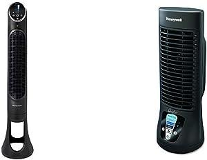 Honeywell QuietSet Whole Room Tower Fan-Black, HYF290B, Black, Black &QuietSet Mini Tower Table Fan, HTF210B, 1 Pack, Black