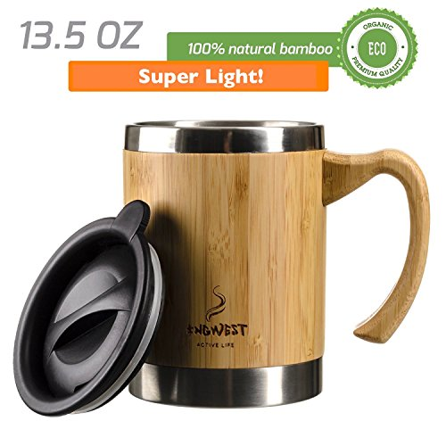 InGwest Active Life. Bamboo Coffee Mug for Men/Women - 13.5 fl.oz. (400 ml) Super Light Eco Stainless Steel Coffee\Tea Mugs with Lid and Bamboo Handle! Large Coffee Mugs. Thickened layer of bamboo!
