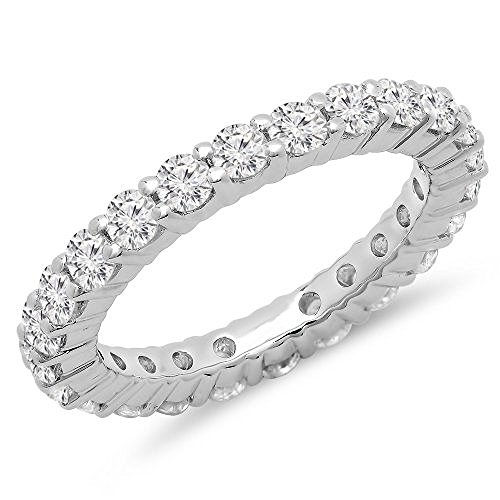 Dazzlingrock Collection 1.00 Carat (ctw) 14K Gold Round Diamond Ladies Eternity Wedding Anniversary Stackable Ring Band