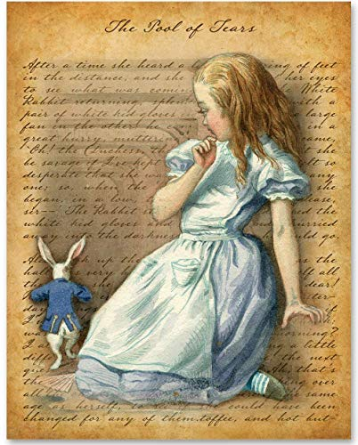Alice in Wonderland - Giant Alice and the Rabbit - 11x14 Unframed Alice in Wonderland Print - Makes a Great Gift Under $15 for Disney Fans or Girls Room