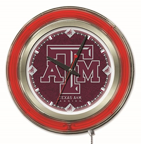 Holland Bar Stool Company NCAA Texas A&M Aggies Double Neon Ring 15-Inch Diameter Logo Clock
