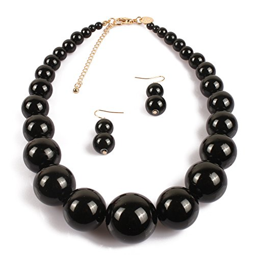 KOSMOS-LI Large Style Big Imitate Pearl Strand Choker Necklace With Earrings Set
