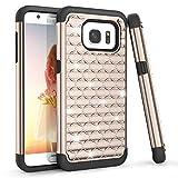 Galaxy S7 Edge Case, Samsung S7 Edge G9350 Case, TILL(TM) Studded Rhinestone Crystal Bling Diamond Sparkly Luxury Shock Absorbing Hybrid Dual Layer Rugged Defender Cute Glitter Girls Case Cover [Gold]