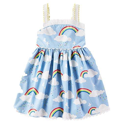 Frogwill Toddler Girls Fifties Summer Tank Dress Blue Rainbow 5T (Toddler Girl Dress Blue)