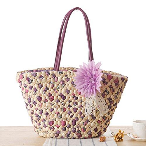 Tote Bags Beach Handle Large Capacity N Knitted Bags Shoulder Bags Rattan Wicker Straw Purple Bali
