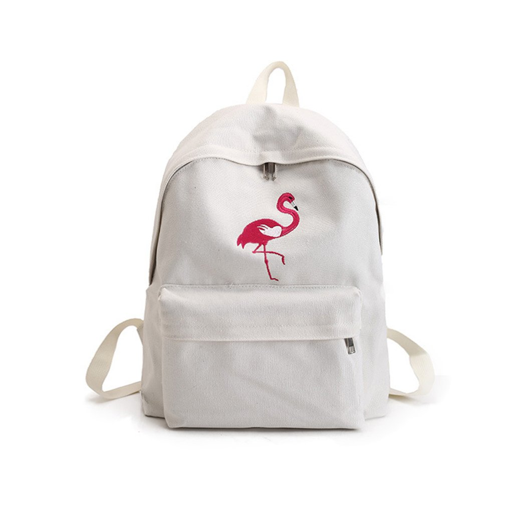 Qinlee Rose Pattern Canvas Backpack Casual Travel Bag Fashional Black and White Student Bookbag for Girls and Women (Flamingo White)