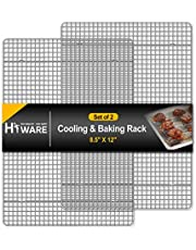 """Hiware 2-Pack Cooling Racks for Baking - 8.5"""" x 12"""" - Quarter Size - Stainless Steel Wire Cookie Rack Fits Quarter Sheet Pan, Oven Safe for Cooking, Roasting, Grilling"""