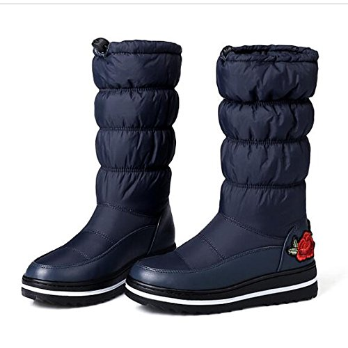 Comfort Winter Calf Fall Heel Boots Fabric Black Low Boots Snow Mid Shoes Casual Women's ZHZNVX for HSXZ Black Boots Blue qwIB4YB
