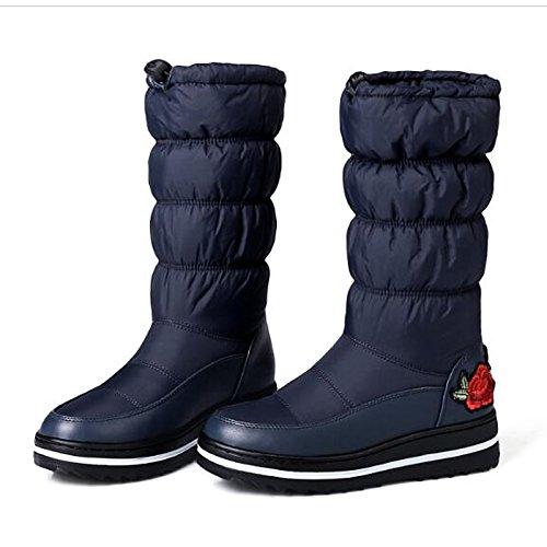 botas azul de bajo casual tacón Mujer tejido de negro Otoño Zapatos Blue Calf nieve confort botas for HSXZ de Invierno Mid botas xz6qHwnn0U
