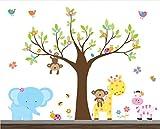 Girl Jungle Wall Decal set-Nursery Wall Decals-Wall Stickers-Safari Wall Decals-Children Wall Art-Wall Stickers-Elephant Decals-Flower Stickers