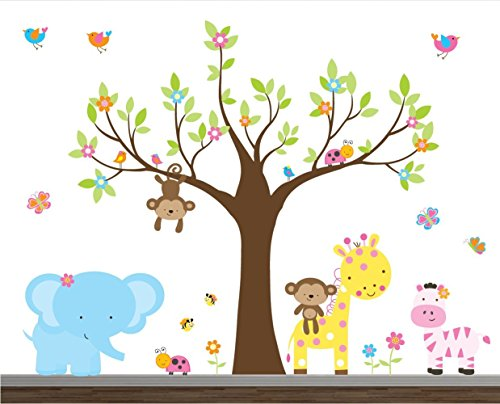 Girl Jungle Wall Decal set-Nursery Wall Decals-Wall Stickers-Safari Wall Decals-Children Wall Art-Wall Stickers-Elephant Decals-Flower Stickers by TinyTots Wall Decals
