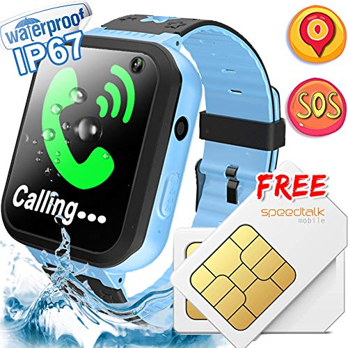 Kids Smart Watch [Free SIM Card] IP67 Waterproof Kids Phone Watch with SOS Safety Call Anti-Lost Camera Learning Games Toy Children Smartwatch Summer Day Holiday Birthday Gift for Girls Boys, Blue ()