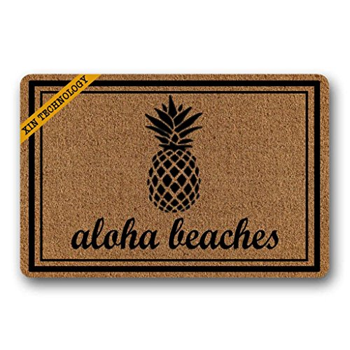 Aloha Beach Decor - Artsbaba Doormat Aloha Beaches Pineapple Door Mat Rubber Non-Slip Entrance Rug Floor Door Mat Funny Home Decor Indoor Mats 23.6 x 15.7 Inches