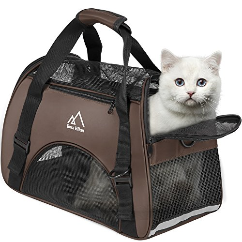 Terra Hiker Small Pet Carrier, Airline Approved Under Seat for Small Dogs and Cats, Travel Bag for Small Animals with Mesh Top and Sides