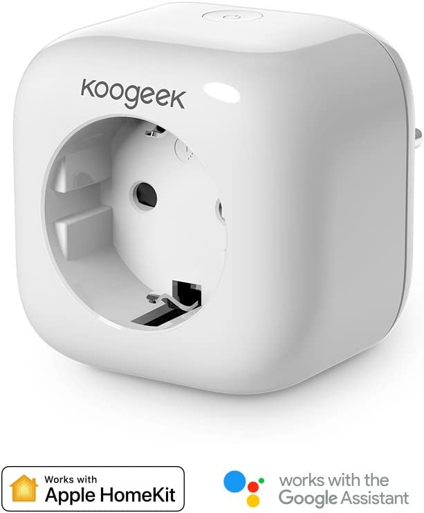 Koogeek Enchufe Inteligente Wifi,Inalámbrico Smart plug HomeKit, Control Remoto de Voz Siri/Alexa/Google Assistant, No se requiere Hub, Temporizador, Android e iOS 2.4Ghz WiFi (1 Pack)