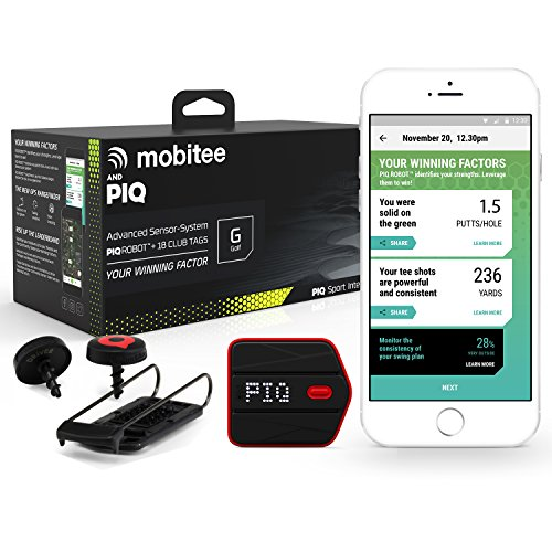 Mobitee & PIQ Wearable Golf Sport Tracker - Golf Course GPS Rangefinder on your wrist, Club GPS Shot Tracker, Club Shot Statistics, Golf Swing Analyzer