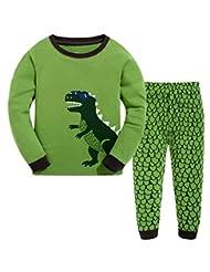 "Pandabeauty Boys and Girls""blue eye dinosaur"" 2 Piece Pajama 100% Cotton (Size2T-7T)"