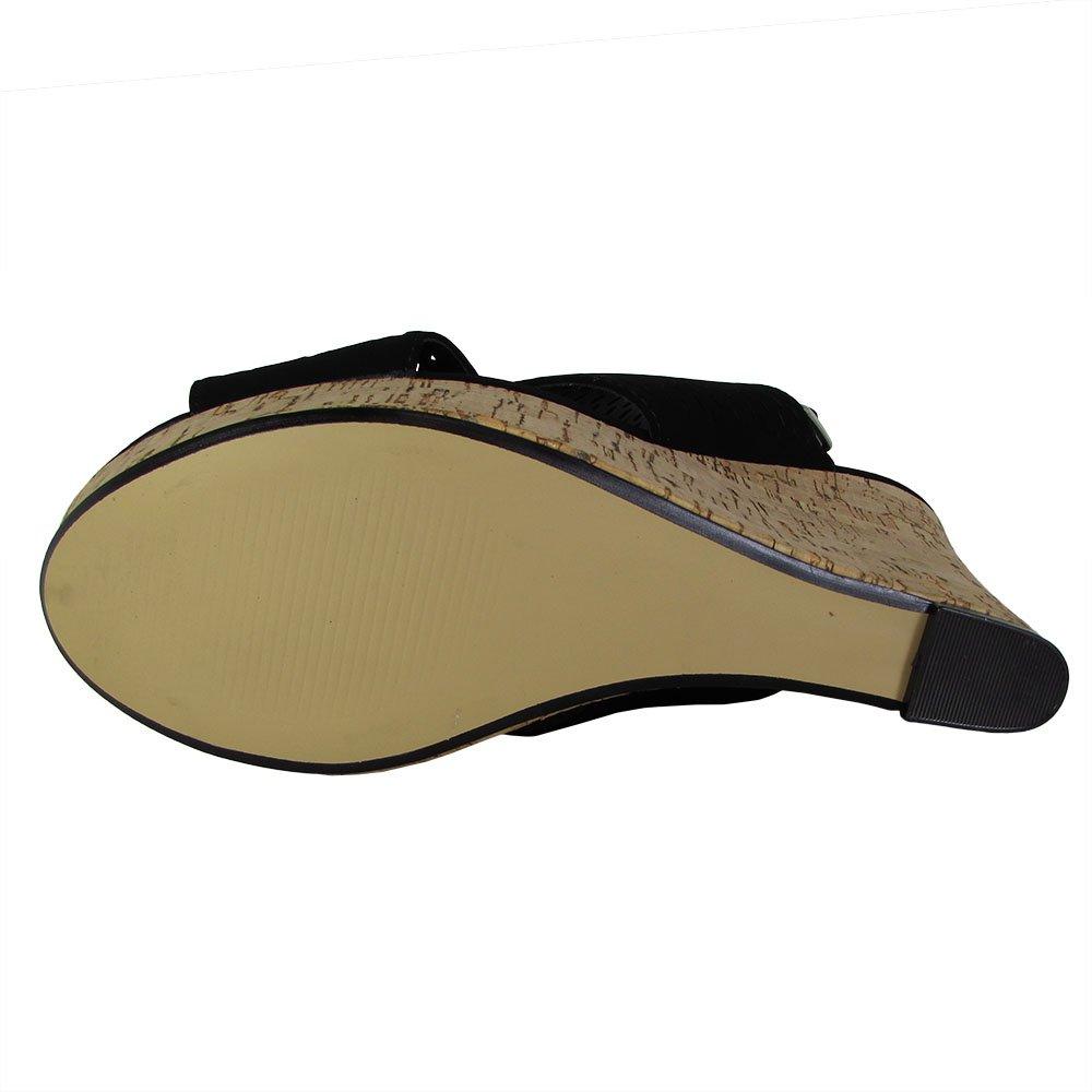 Steve Madden Womens Exhibit Slingback Platform Wedge Shoes B01MYXN4FY 7 B(M) US Black