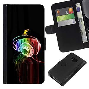 KingStore / Leather Etui en cuir / HTC One M9 / Auriculares Música Arte colorido del arco iris Danza