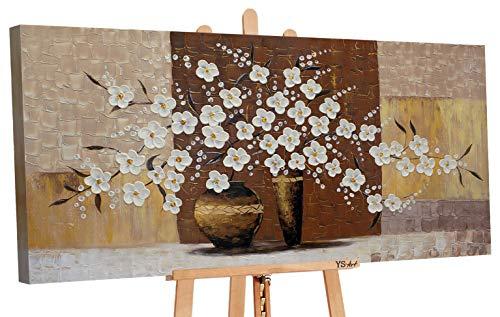 YS-Art   Cuadro Pintado a Mano Maceta con Flores IV   Cuadro Moderno acrilico   120x60 cm   Lienzo Pintado a Mano   Cuadros Dormitories   unico   Castano
