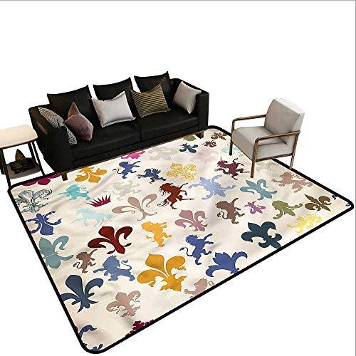 - Fleur De Lis,Bedroom Living Room Area Rug 48