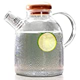 Cupwind 61 Ounces Borosilicate Glass Pitcher, Hot/Cold Water Jug, Carafe Pitcher with Wooden Lid for Juice and Tea Beverage (1800ml-G)
