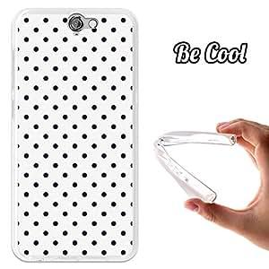 BeCool® - Funda Gel Flexible HTC One A9 Puntos Negros en Fondo Blanco Carcasa Case Silicona TPU Suave