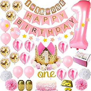 FunDeco Party 1st Birthday Decorations for Girl 'Mega Bundle' | Pink and Gold Girls Theme Kit Set | First Bday Tiara Crown Hat, One' Cake Topper, Foil, Confetti, Marble Balloons, Banner, Poms, Bunting