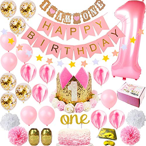 1st Birthday Girl Decorations | Girls First Decor Party Supplies Set | Princess Pink n Gold Theme Kit | Happy Birthday Banner, 1 Year Tiara Crown Hat One Cake Topper, Number, Marble, Confetti Balloons -