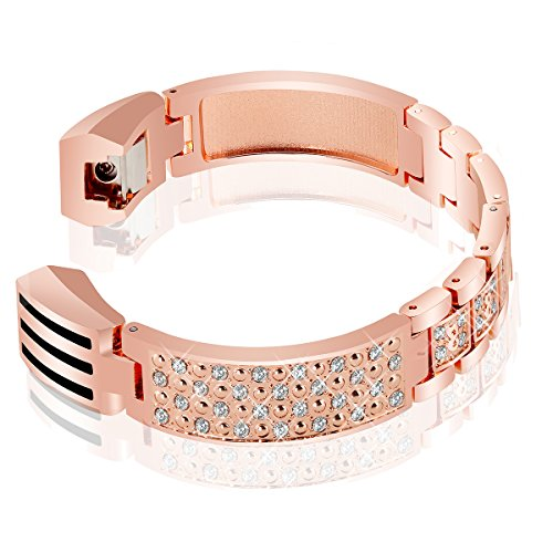 Curves Link Gold (VOMA for Fitbit Alta HR Bands Fitbit Alta Bands for Women Men, Stainless Steel Alta Fit bit Bands Alta Fitbit Bands Fitbit Alta Replacement Bands Wristbands Small Large Curve Rose Gold)