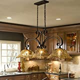 Uttermost 21009 Vetraio 3-Light Kitchen-Island Light with Glass Shades, Oil-Rubbed Bronze