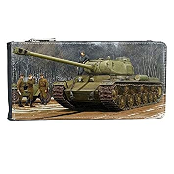 Amazon.com: Military The Second World War II Snow Tank Forest Soldiers Photography Theme Oil Painting Multi-Card Faux Leather Rectangle Wallet Card Purse ...