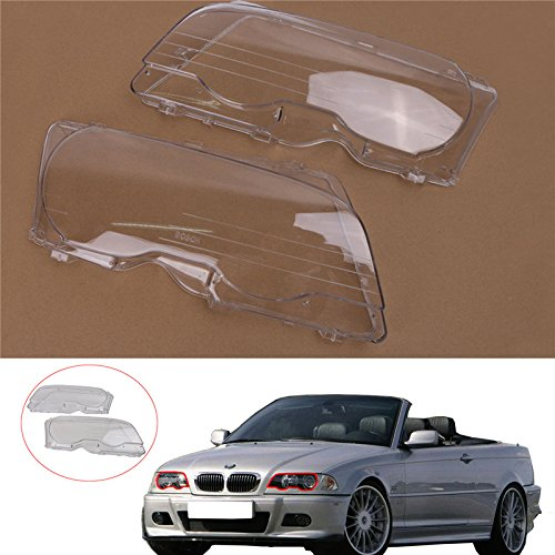 Jade 1 Pair Halogen Headlight Lens Plastic Shell Cover For BMW E46 2000-2003 M3 323ci 325ci 328ci 330ci 2-Door