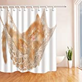 Cat Shower Curtains By KOTOM Cute Pretty Cat Kitten In Cozy Swing String Woven Hammock Bath Curtains, 72X72 Inches