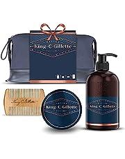 King C. Gillette Beard Grooming Kit for Men, Beard & Face Wash + Beard Balm + Comb, Gift Set Ideas for Him/Dad, navy blue