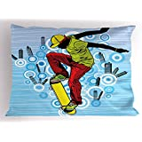 Ambesonne Youth Pillow Sham, Teenager Playing Skateboard on Street with Abstract City Background Circles Buildings, Decorative Standard Queen Size Printed Pillowcase, 30 X 20 Inches, Multicolor