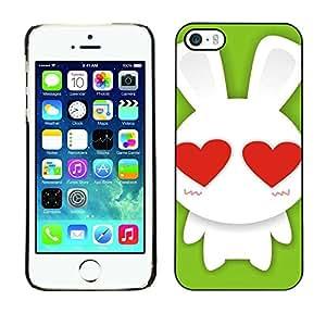 PC/Aluminum Funda Carcasa protectora para Apple Iphone 5 / 5S Cute Bunny Rabbit Love / JUSTGO PHONE PROTECTOR