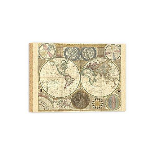 (DìMò ART Canvas Print Wall Art Dunn Samuel Double hemisphere map of the world 1794 size 32x 24 (81x61 CM) with reflective border 2 (5 CM))