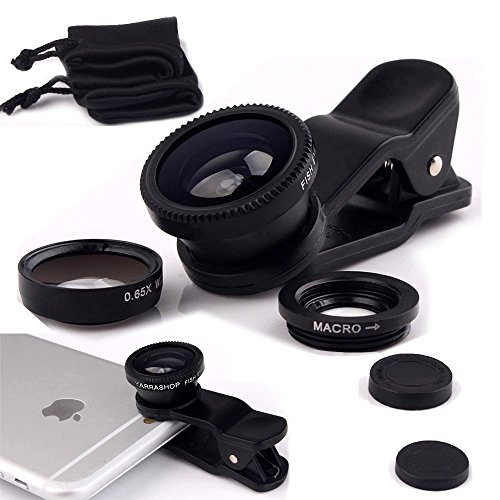 ONX3 Samsung Galaxy S7 active (Black) Mobile Phone Universal Camera Lens 3 in 1 Kit Wide Angle Lens + Fisheye Lens + Macro Lens with Clip-on 180 Degree For Both Android and iOS Devices