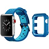 Apple Watch Band with Case 38mm, MAIRUI iWatch Soft Silicone Sports Strap with Rugged Protective Bumper Cover Adjustable Replacement Wristband For Apple Watch iWatch Series 3/2/1, Sport/Edition/Nike+