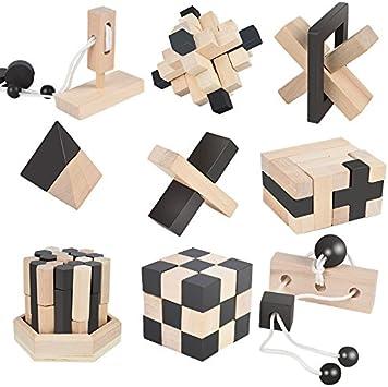 B/&Julian /® 3D IQ Puzzle en Bois Enfants Adulte Casse-t/ête 10 Jeux Ensemble Id/ées de Contenu Advent