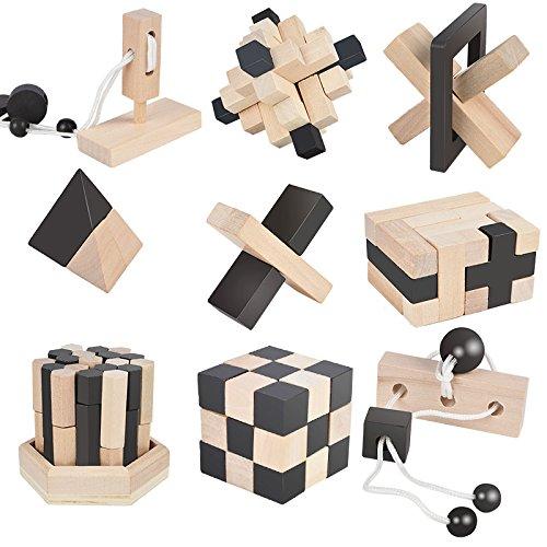 B&Julian 3D IQ Holzpuzzle 9 Mini Puzzlespiel Knobelspiele Geduldspiel Set Holzknoten Rätselspiel Geschicklichkeitsspiel Ideen Adventskalender Inhalt Zaprori GmbH Architektur