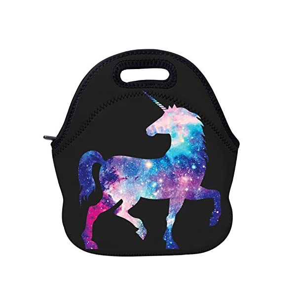 AOTIGO Unicorn Horse Galaxy Space Neoprene Lunch Bag Insulated Lunch Box Waterproof Lunch Tote Bag with Zipper for Women… 3