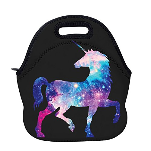 AOTIGO Unicorn Horse Galaxy Space Neoprene Lunch Bag Insulated Lunch Box Waterproof Lunch Tote Bag with Zipper for Women Kids Boys Girls and -