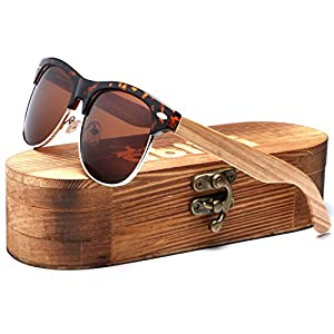 Ablibi Bamboo Wood Clubmaster Sunglasses with Polarized Lenses in Original Boxes