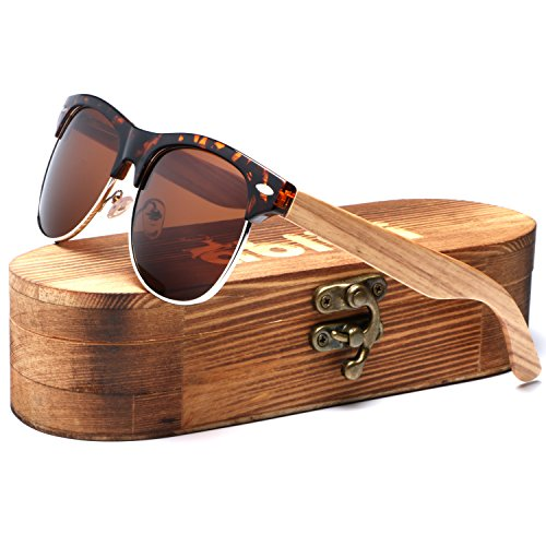 Ablibi Bamboo Wood Clubmaster Sunglasses with Polarized Lenses in Original Boxes (Zebra Wood, - Clubmaster Original