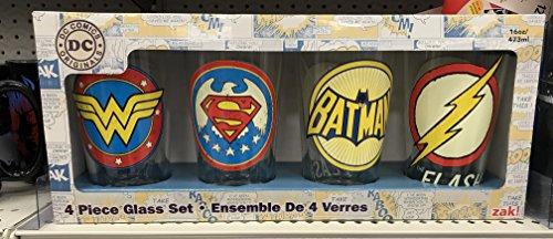 Zak Designs Drinkware Set of 4 DC Super Heroes Glasses