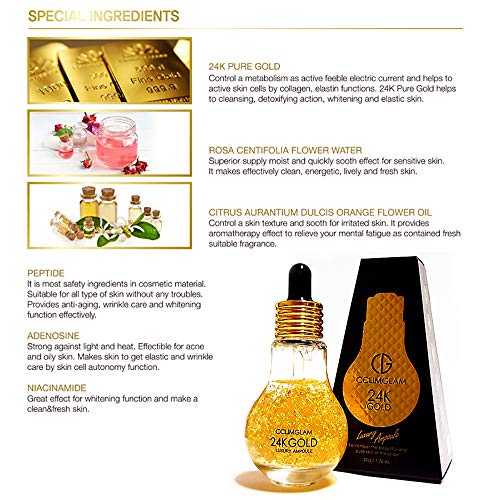 Korean Skin Care - 24K GOLD CCLIMGLAM LUXURY Serum for Face, Anti Aging, Anti Wrinkle, Skin whitening, Face Moisturizer for Dry Skin, Korean K Beauty Facial Serum - 1.76 oz